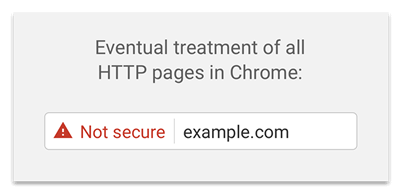 "Screenshot showing Chrome treatment of insecure websites (red ""not secure"" badge)"