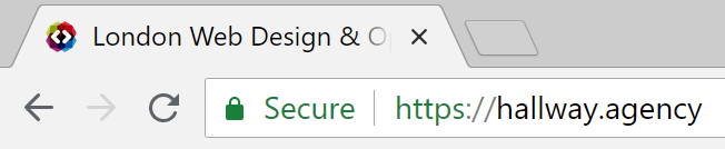 "Google Chrome web browser displaying ""Secure"" badge next to website address bar"